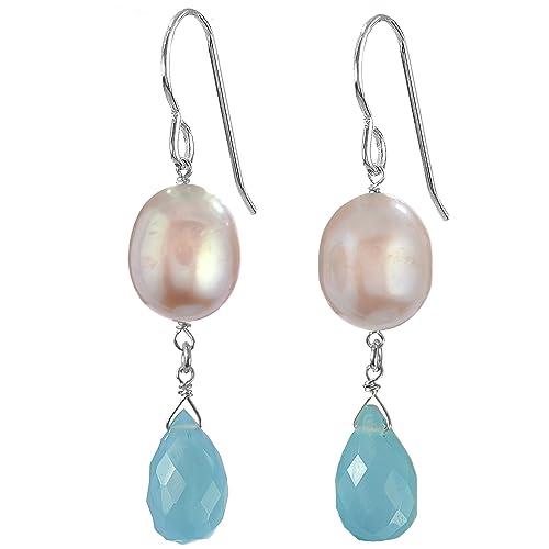 ASHANTI Aqua Blue Aqua Chalcedony Briolette and Pink Freshwater Cultured Pearl Natural Gemstone Handmade Earrings