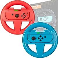 ORZLY® Pack DE Dos Volantes de para la Nintendo Switch – Volante Rojo y Volante Azul para Usar con los mandos Joy-con de la Nintendo Switch
