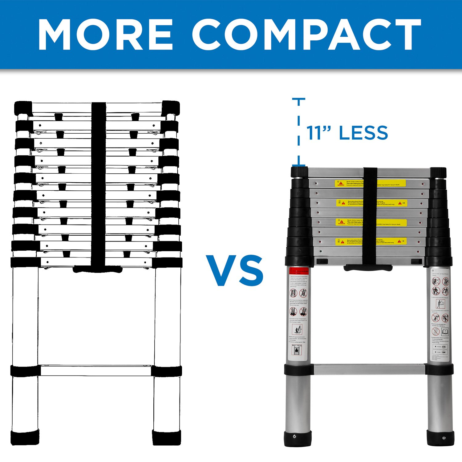Work-It! Telescoping Ladder 10.5 Ft - Aluminum Extension Ladder with Soft Close Spring Function, EN131 Certified 330 lbs Capacity by Work-It! (Image #5)
