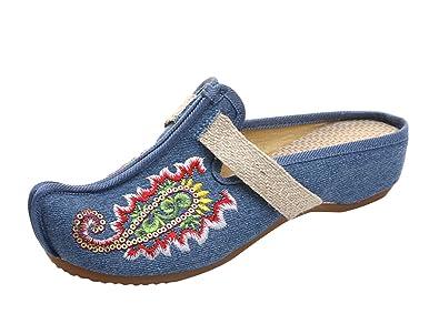 Damen Clogs Spitze Zehen Glückliche Fische Stickerei Flache Pantoffel Schuhe Blau 38 ICEGREY sumrukvTC