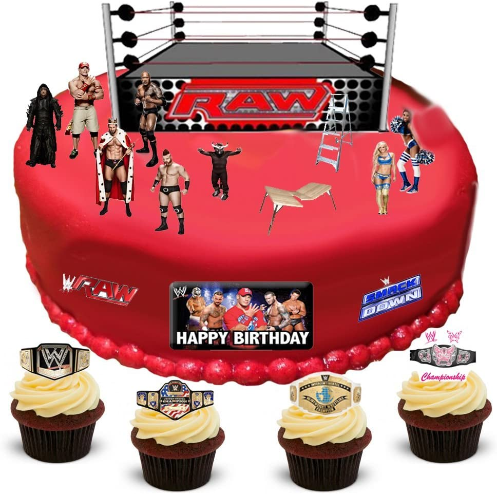 Superb Wwe Wrestling Happy Birthday Stand Up Scene Premium Edible Wafer Funny Birthday Cards Online Alyptdamsfinfo
