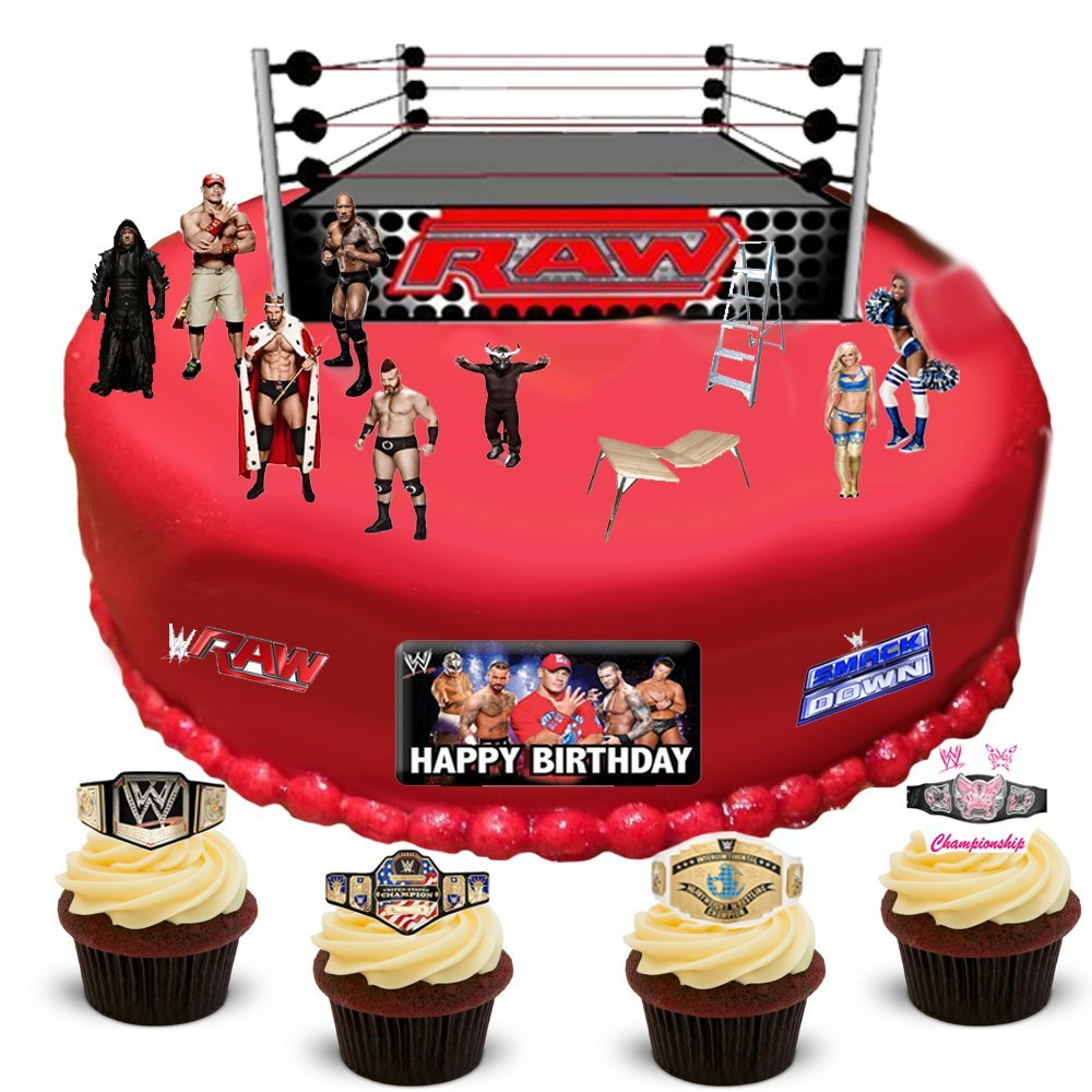Wwe Wrestling Happy Birthday Stand Up Scene Premium Edible Wafer