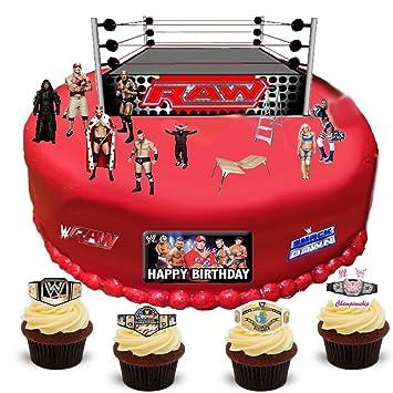WWE Wrestling Happy Birthday Stand Up Scene Premium Edible Wafer