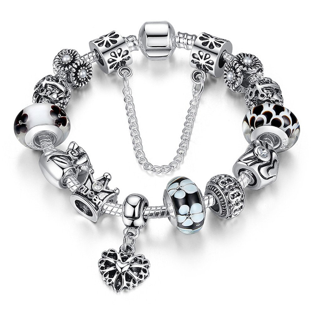 "ATE Charm Bracelet ""Queen"" Crystal Murano Glass Beads Safety Chain Women JW-B110"
