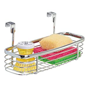iDesign Axis Over the Cabinet Kitchen Storage Organizer Tray for Sponges, Scrubbers, Brushes - Chrome