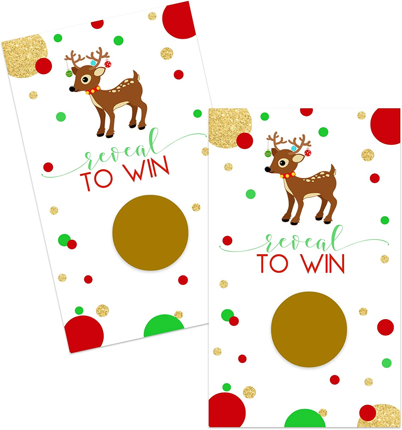 Amazon Com Reindeer Scratch Off Game Cards 28 Pack Christmas Party Supplies Holiday Events Groups Kids Adults Festive Raffle Tickets Business Prize Drawings Fun Red Green Gold Toys Games