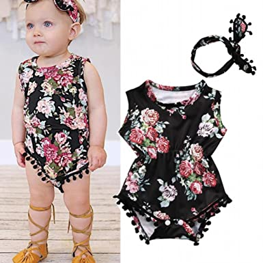 46b9eb77b Amazon.com  Baby Girls Infant Toddler Floral Romper Jumpsuit+ ...