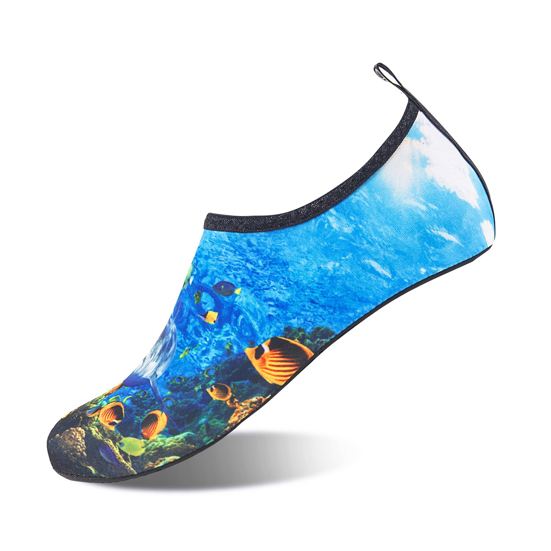 Mens Womens Water Shoes Barefoot Beach Pool Shoes Quick-Dry Aqua Yoga Socks for Surf Swim Water Sport (Water World, 40/41EU)