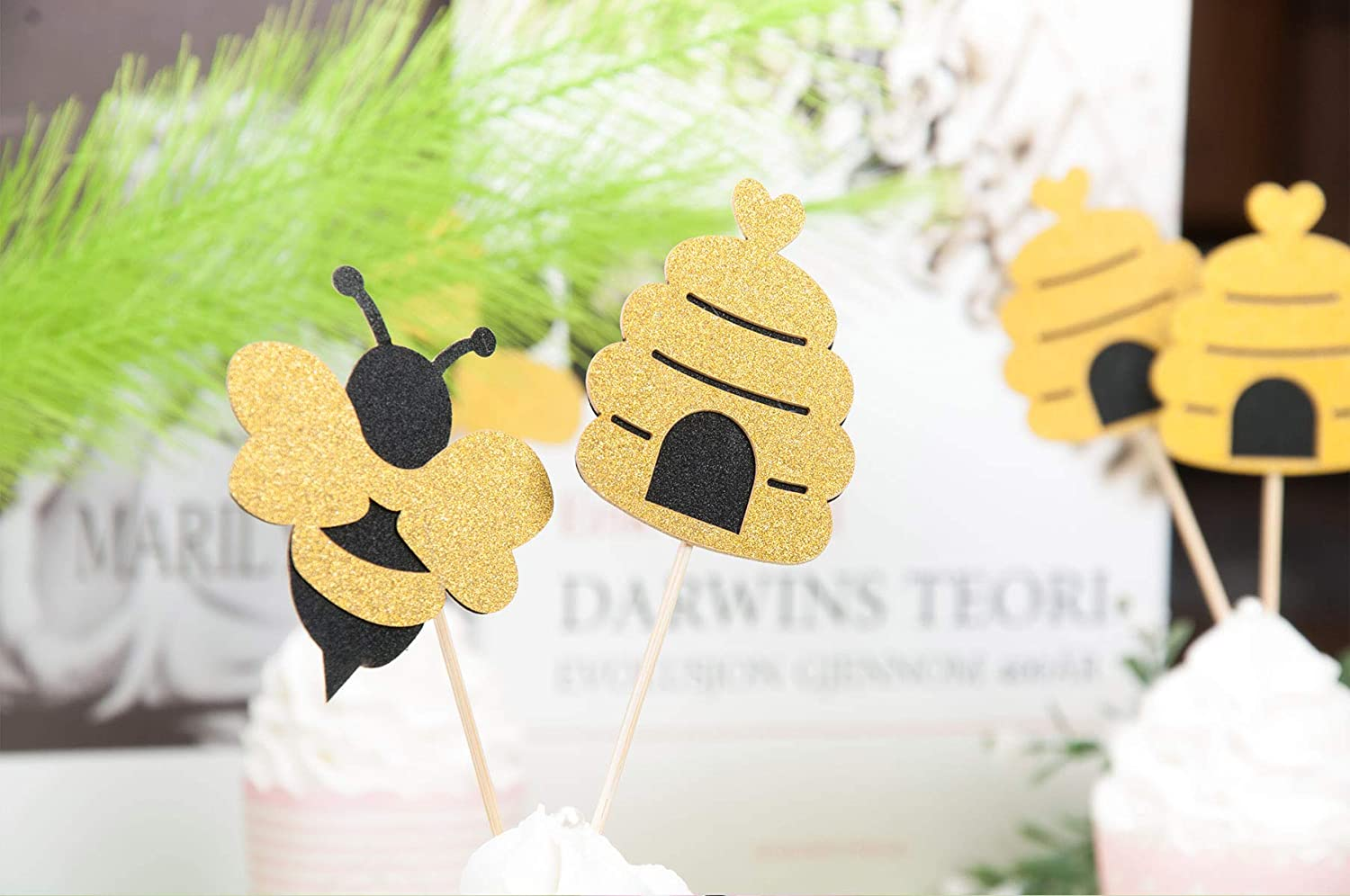 Lauren 48 Pcs Glitter Bumble Bee Cupcake Toppers Fruit Decorations for Bumble Bee Gender Reveal Baby Shower Birthday Party Decor