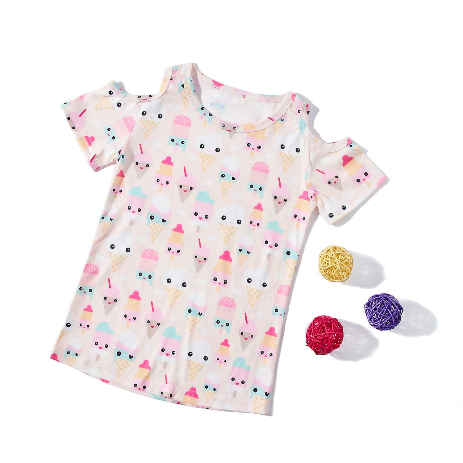 Little Girl Kids Scoop Neck Ice Cream Print Personalized Basic T Shirt Undershirt Top Tee one Pack Size 3