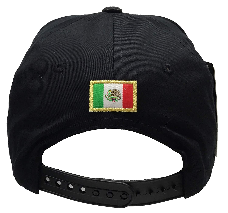 Mexico Aguila Gold 3D Chapo Silver en la Visera 4 Logos hat Black Snapback