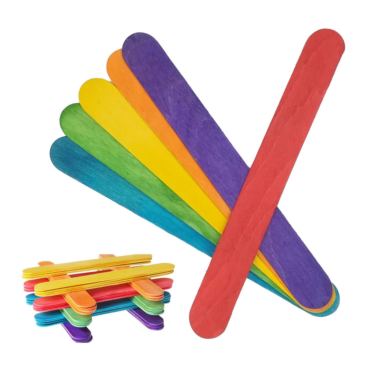 Holzst/äbchen Bunte DIY Holz Sticks Nat/ürliche 100Pcs Craft Sticks f/ür DIY Handwerk Basteln