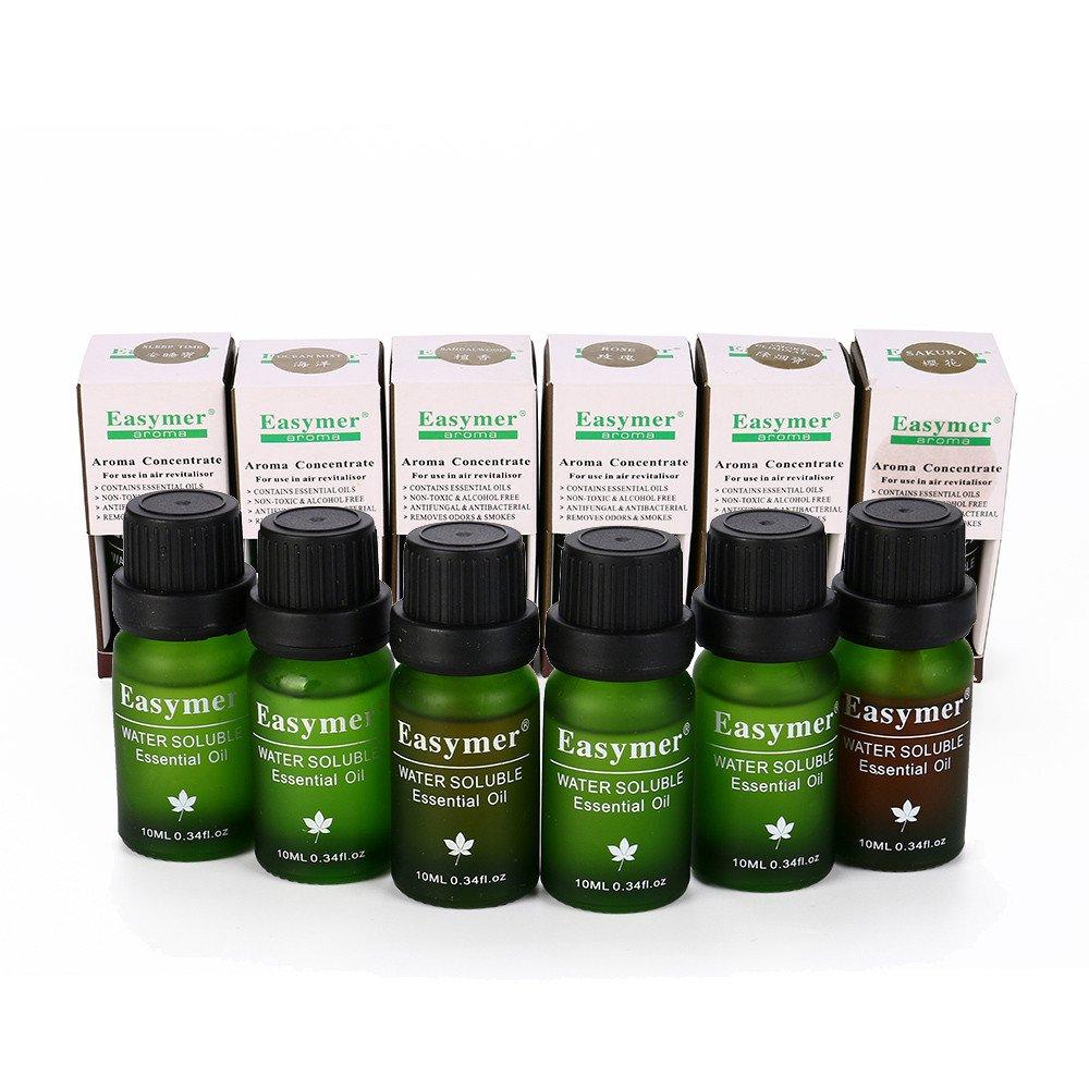 Jinjin Aromatherapy Essential Oils Gift,5 Bottles/ 10ml Each, ( Smoke removal, sleeping, ocean, rose, sandalwood) (A)