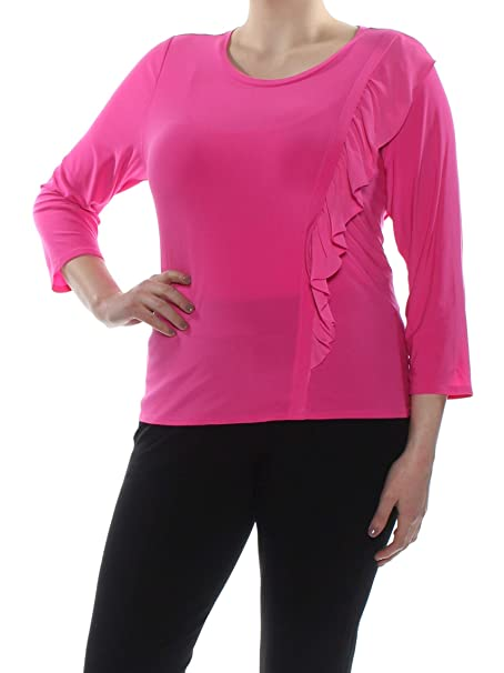 fb1d4f48e66f9 Image Unavailable. Image not available for. Color  CeCe  59 Womens New 1845 Pink  Ruffled Trim Crew Neck 3 4 Sleeve Top XL