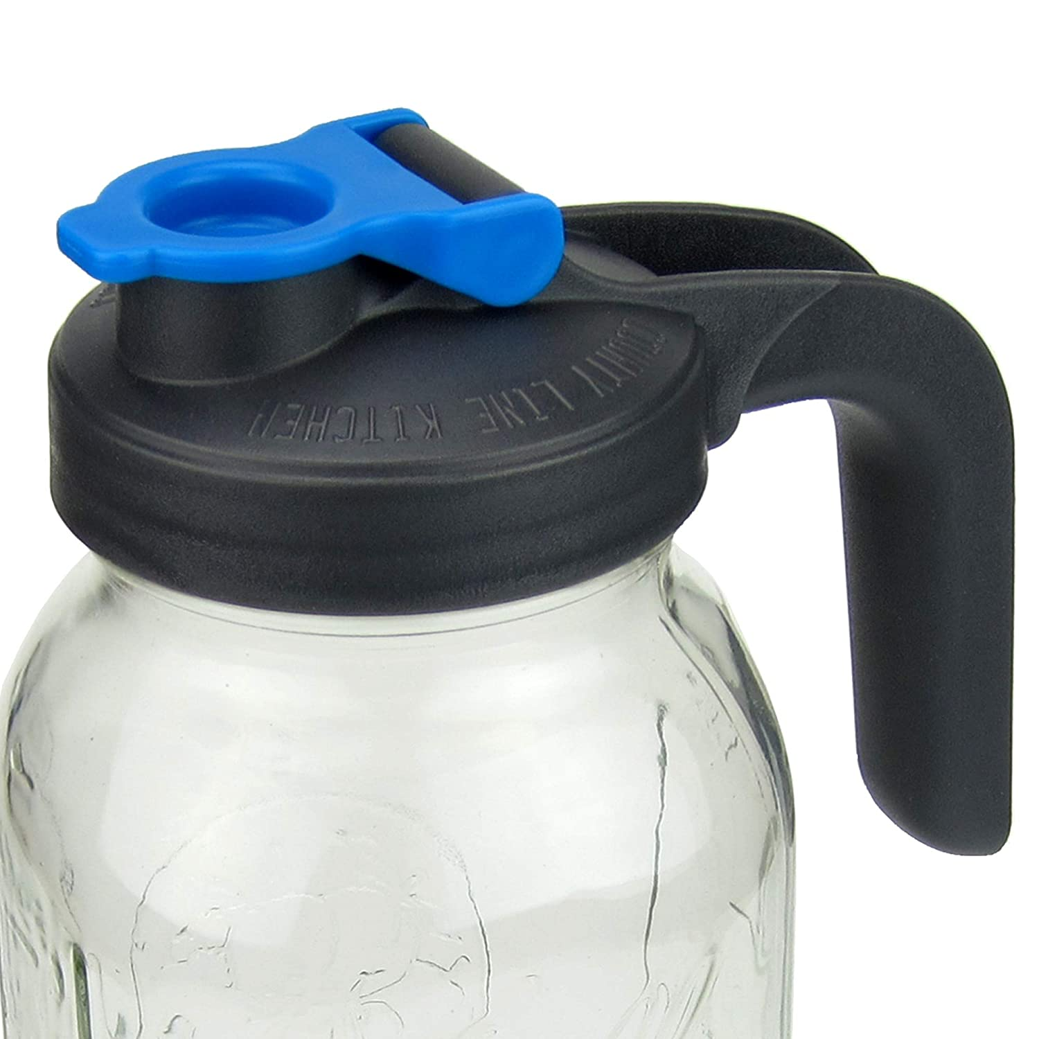 Pour and Store! Wide Mouth Mason Jar Flip Cap Lid With Handle by County Line Kitchen with Airtight, Leak-Proof Seal and Innovative Flip Cap (WIDE MOUTH, HANDLE, Blue, 1 Pack)