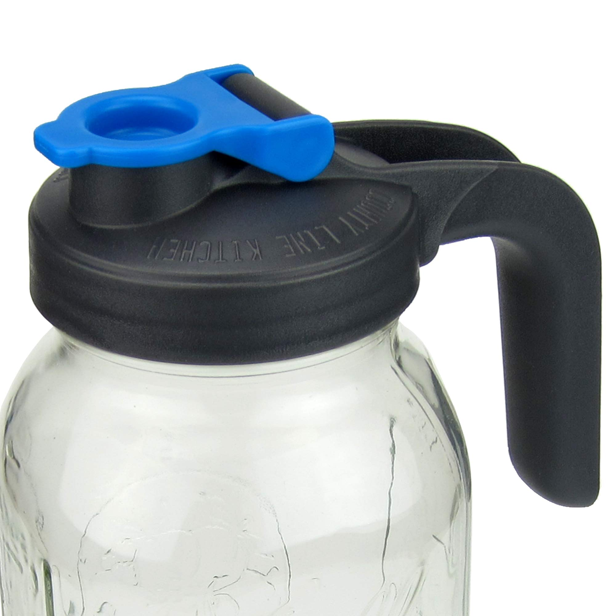 Pour and Store! Wide Mouth Mason Jar Flip Cap Lid With Handle by County Line Kitchen with Airtight, Leak-Proof Seal and Innovative Flip Cap (WIDE MOUTH, HANDLE, Blue, 1 Pack) by County Line Kitchen