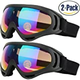 COOLOO Ski Goggles for Kids Men & Women Skate Glasses with 100% UV 400 Protection Wind Resistance Anti-Glare Lenses & Dust-proof Insulation Pack of 2 Made by