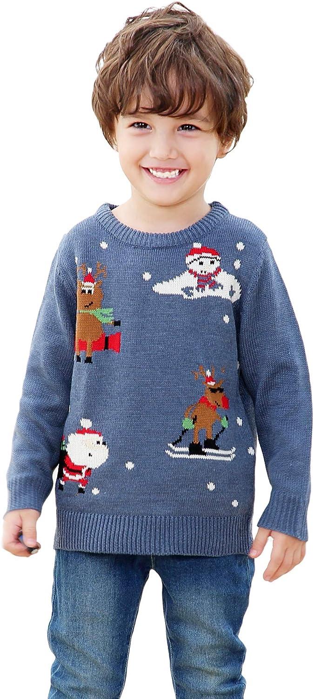 Shineflow Unisex Children Kids Rudolph Reindeer Red Nose Ugly Christmas Sweater Jumper