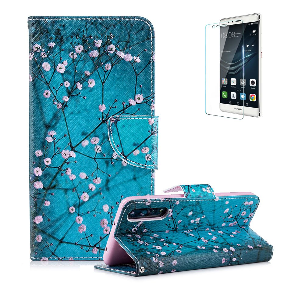 Funyye Magnetic Flip Cover Leather Case for Huawei P20, Stylish Blue Pink Flower Pattern Soft Wallet with Stand Credit Card Holder Slots Case for Huawei P20, Shock Proof Anti Scratch Non Slip Slim Fit Case for Huawei P20 + 1 x Free Screen Protector FUNYYE0