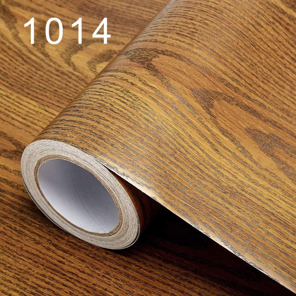 Papel tapiz autoadhesivo impermeable grueso grano de madera papel TV fondo gabinete puerta de madera mesa papel tapiz 1014- palisandro 60 CM