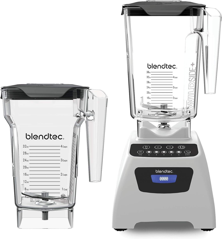 Blendtec Classic 575 Blender-WildSide (90oz) and FourSide Jar (75 oz) BUNDLE Professional-Grade Power-Self-Cleaning-4 Pre-programmed Cycles-5-Speeds, Polar White