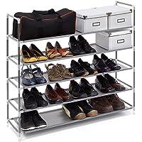 Relaxdays Schuhregal mit 5 Ablagen, Schuhablage für 20 Paar Schuhe, beliebig erweiterbar, HxBxT: 90,5x87x29,5 cm, grau