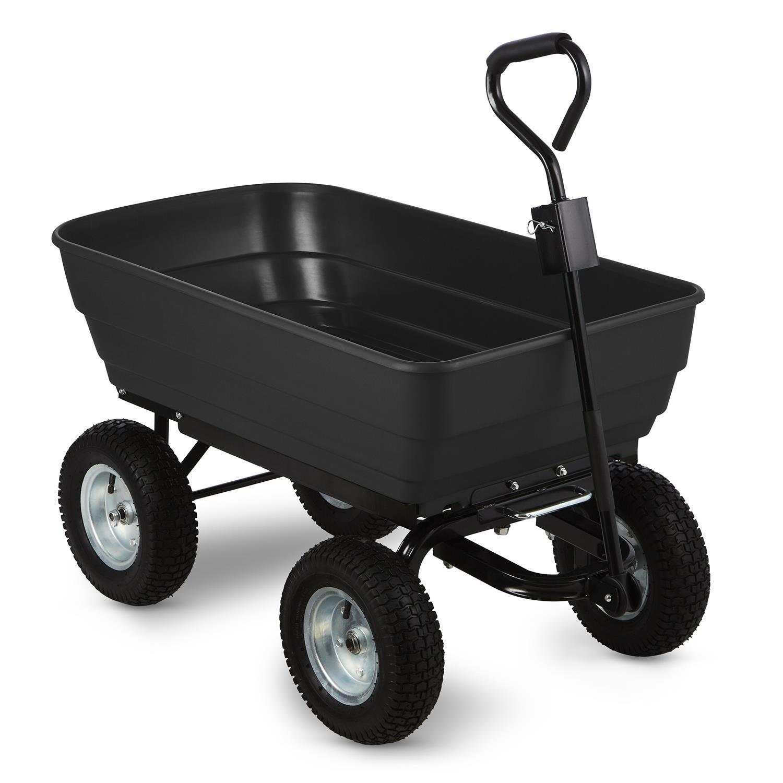 Waldbeck Black Elephant Gartenwagen Handwagen Transportwagen (400kg Zuladung, kippbare Wagenschale, extra breite Reifen, stabile Wanne) schwarz