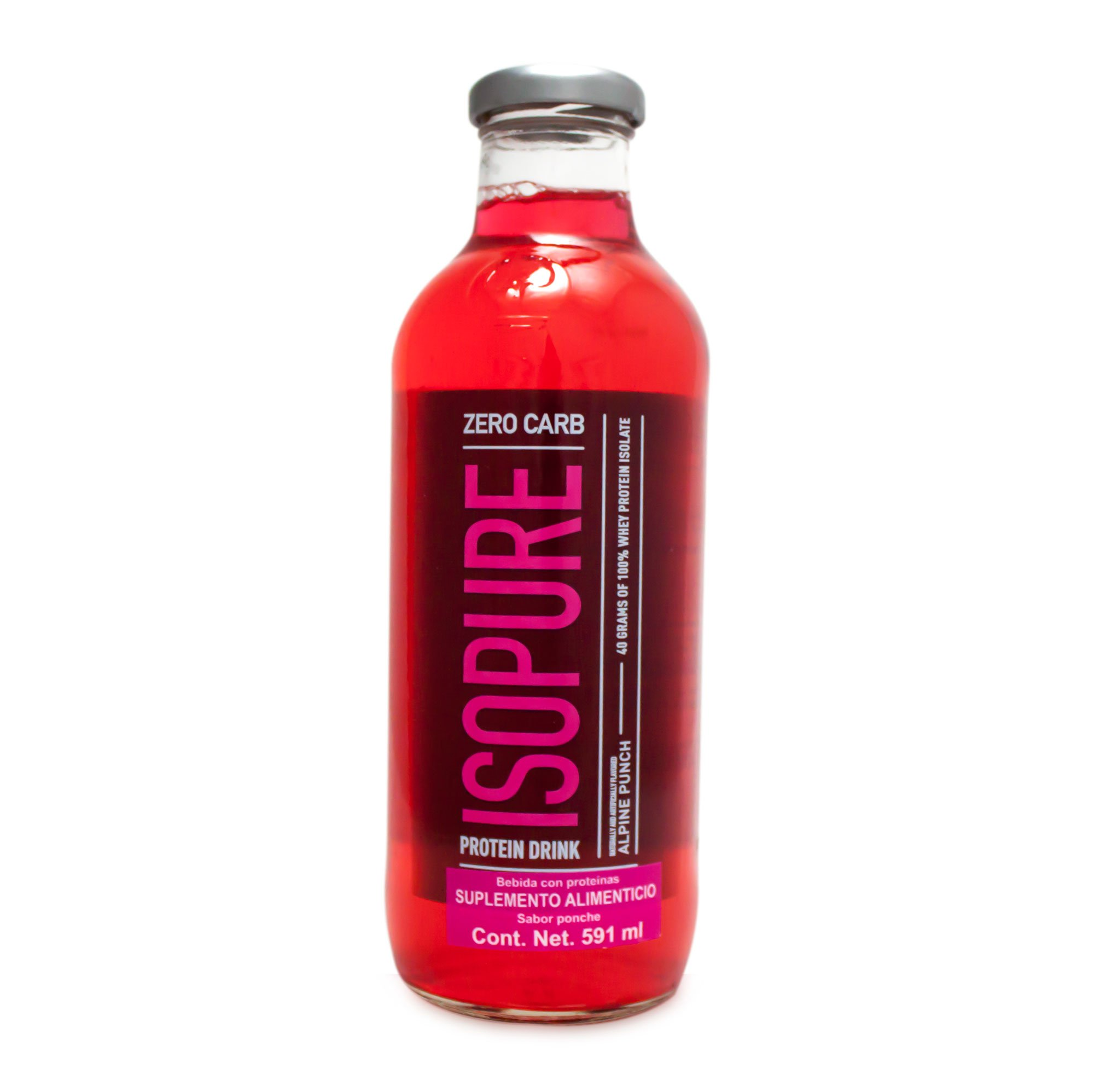 Isopure Zero Carb Protein Ready-To-Drink, Alpine Punch, 20 Ounce (Pack of 12)