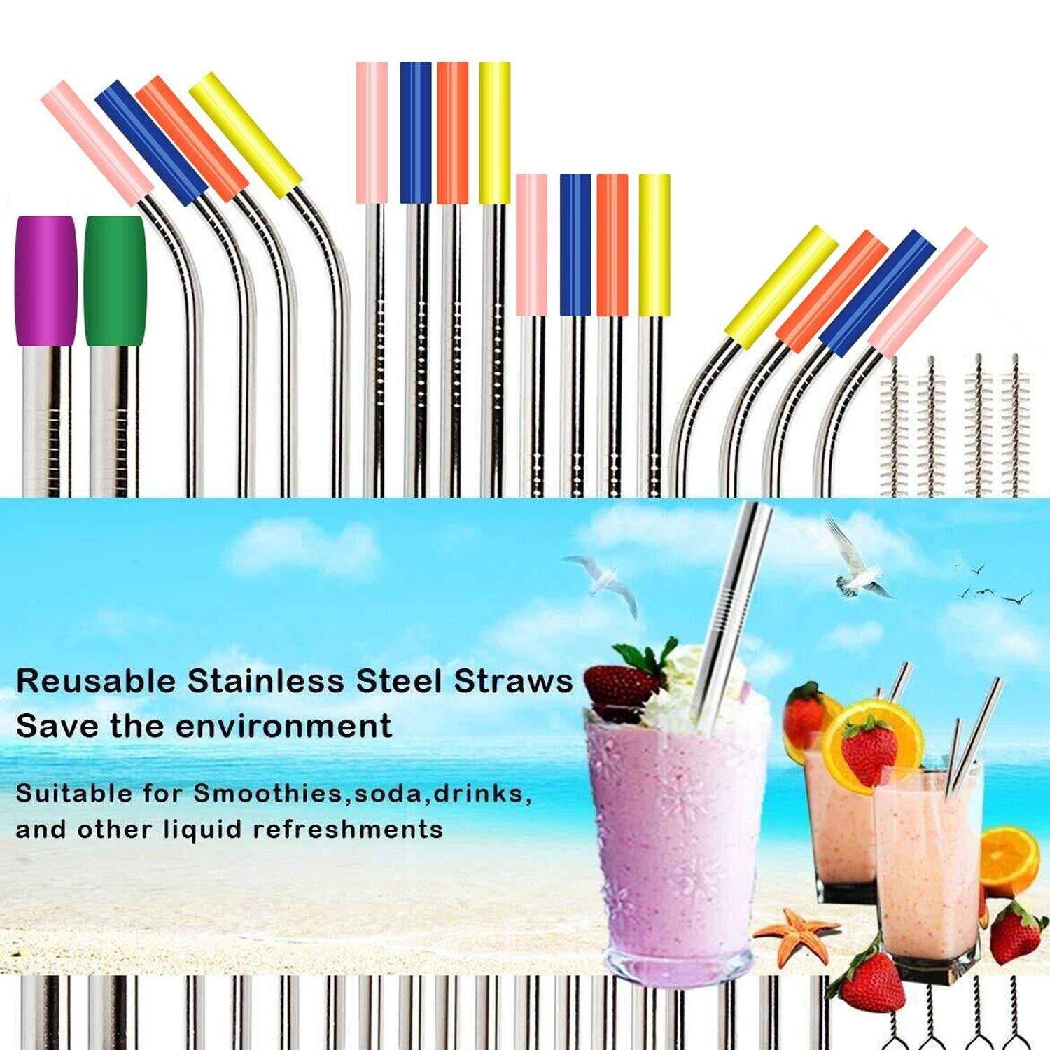 Cappuccino Coffee Stainless Steel Straws 5 Straight   4 Bent   2 Brushes Cocktail 8.5 Drinking Metal Straws Ice Tea Reusable Straws for 20oz 30oz Cold Beverage