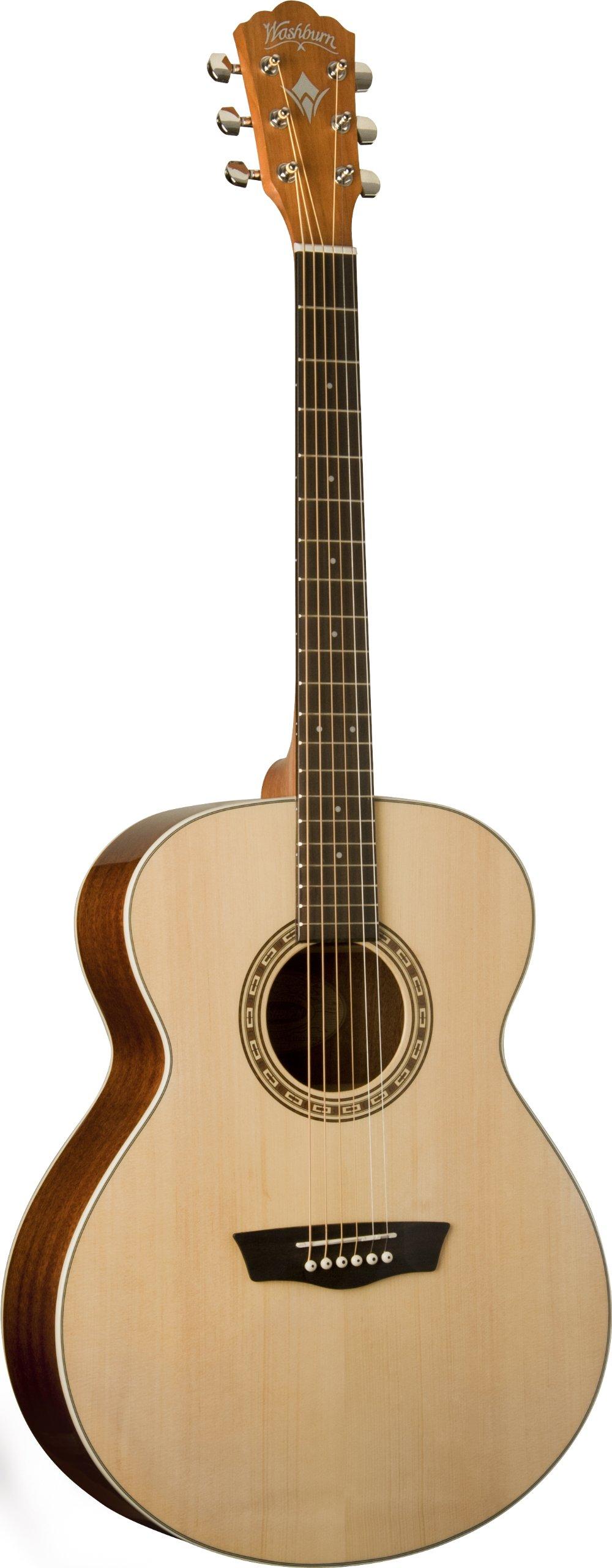 Washburn Harvest Series WG7S Acoustic Guitar, Natural Gloss by Washburn