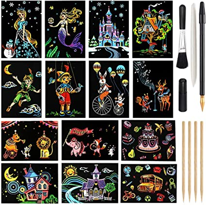 Magic Scratch Art Paper Rainbow Landscape Engraving Art Mini Scratchboard DIY Pads for Adults and Kids 7.9x5.5 Crafts Set: 12 Sheets Scratch Postcard Cards /& Drawing Pens Tools Fireworks Series