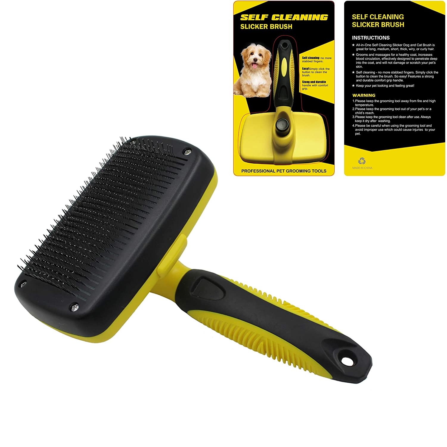 Cat Slicker Brush Quick Self-Cleaning Pro Quality Grooming Comb Eliminates Mats and Tangles Shedding & Hairballs