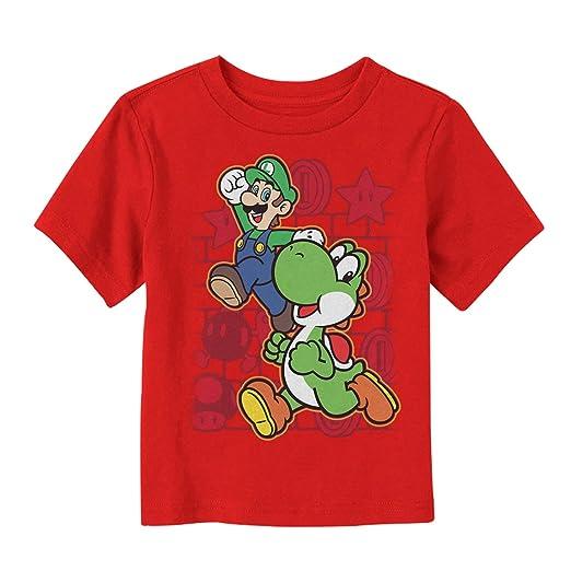 f806ae86f Amazon.com: Nintendo Toddler's Luigi and Yoshi Jump T-Shirt: Clothing