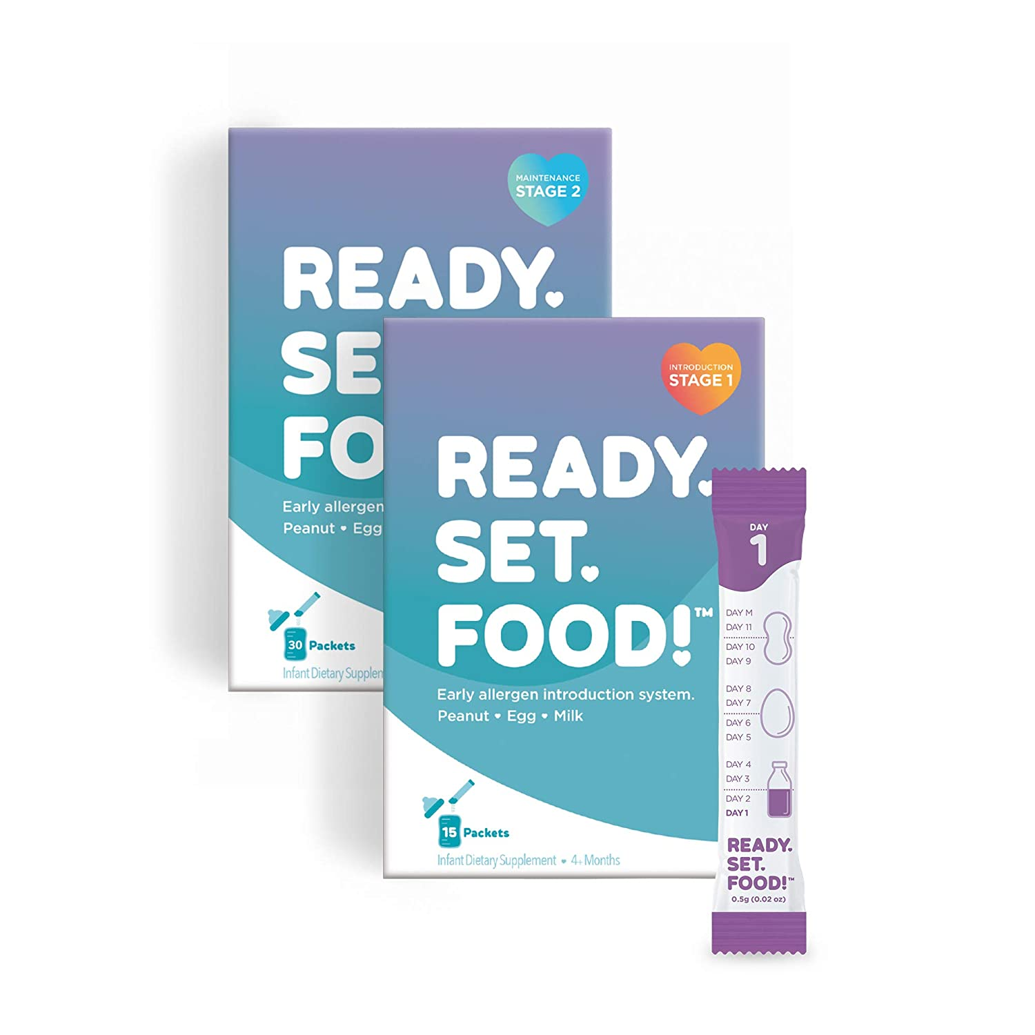 Early Allergen Introduction for Babies, Peanut, Egg & Milk: Stage 1 & 2, 45 Days - Mix with breast milk, formula, or food to help prevent food allergies by Ready, Set, Food!   As seen on Shark Tank