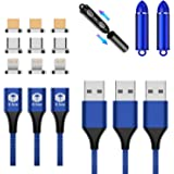 E-BOX マグネット 3A 急速充電 データ転送 3in1 充電ケーブル 1m×3本 MicroUSB ライトニング TypeC ケーブル (3本セットブルー)