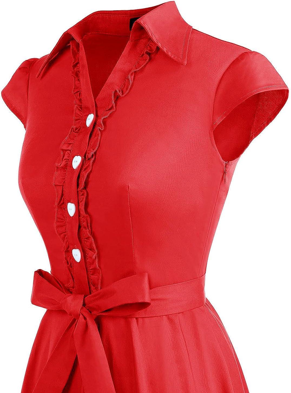 Wedtrend Womens 1950s Retro Rockabilly Dress Cap Sleeve Vintage Swing Dress