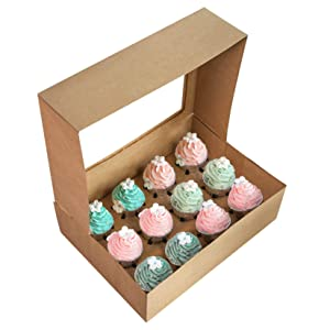 15-Pack Brown Cupcake Boxes 12 Holders Cake Carrier Food Grade Kraft Pop-up Bakery Boxes 13.8 x 9.5 x 4inch with Inserts and PVC Windows Fits 12 Cavity Cupcake Pack of 15