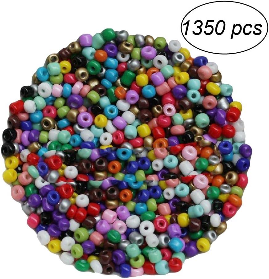 BESTONZON 1350 unids 3mm Cuentas de Cristal Multicolor Cuentas Redondas de Cristal Perlas de Vidrio Perlas de Potro Hechas a Mano Mini Cuentas para Hacer Collares Joyas DIY Regalo Cadena