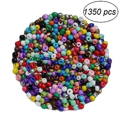 autentico 2df3c 06aa4 BESTOMZ 1350pcs 3mm Perline Vetro Perline per Bigiotteria Perline Colorate  Rotonde Miste, Tinto, 3mm in Diametro