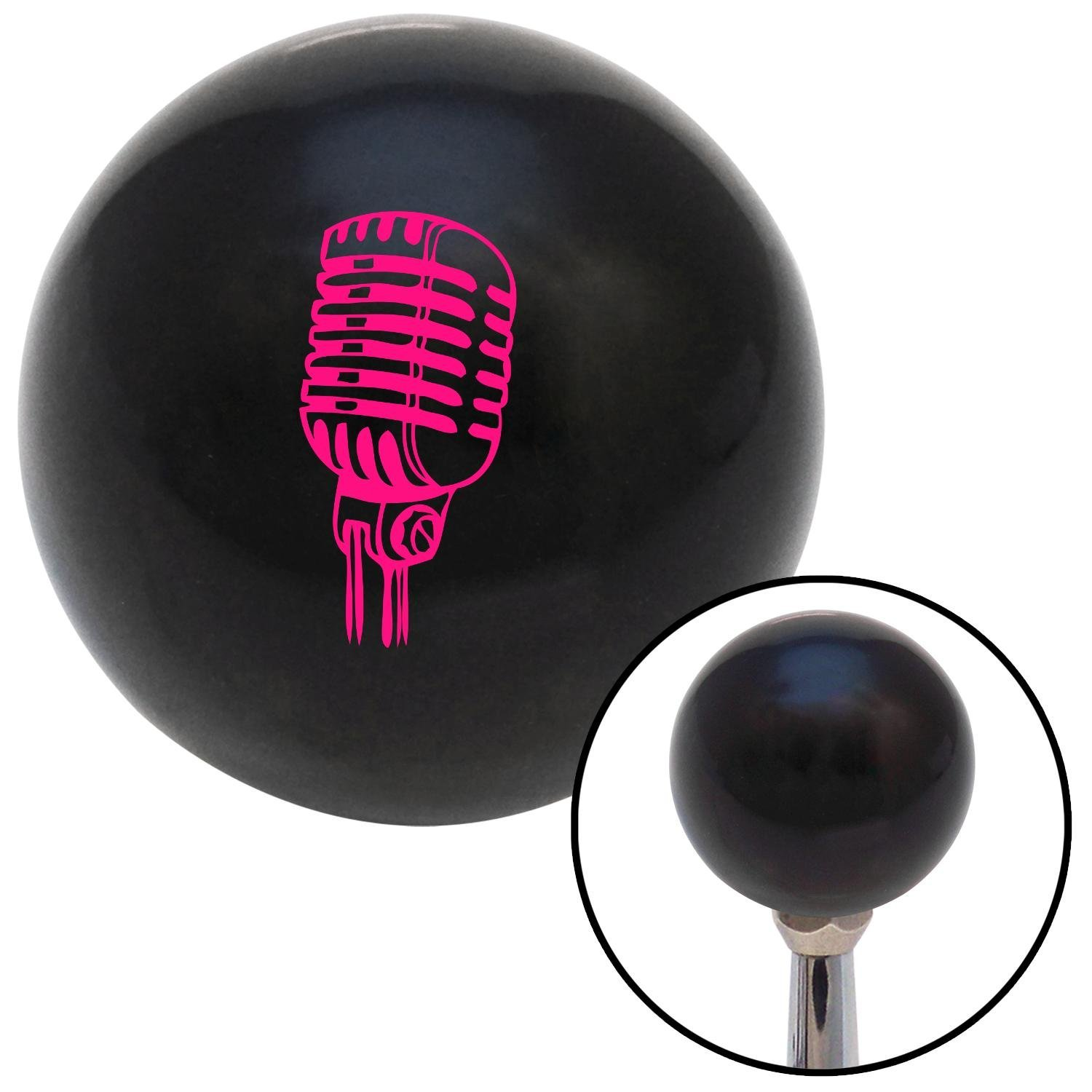 American Shifter 107318 Black Shift Knob with M16 x 1.5 Insert Pink Old School Microphone