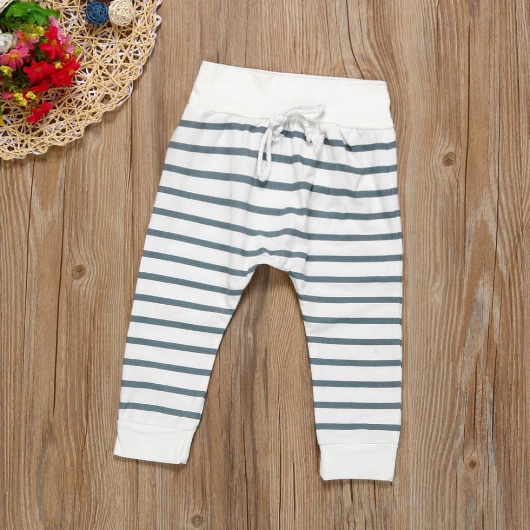 Highpot Newborn Baby Gray Hooded Tops+Stripe Long Pants 2PCS Clothes Set 0~2T