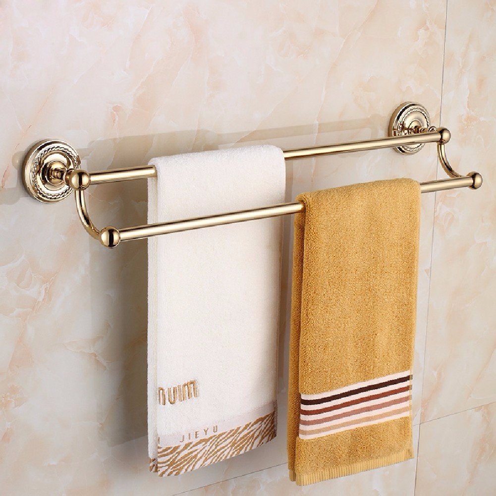 HQLCX Gold Towel Bar, All Copper European Style Double Pole Towel Bar
