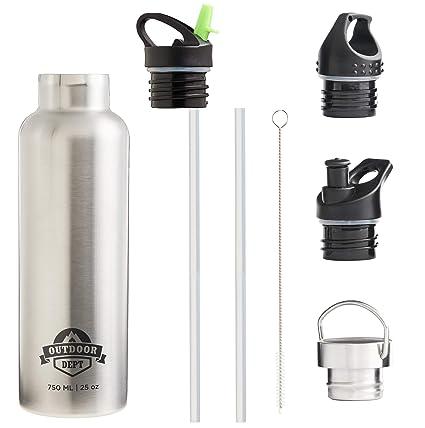 OUTDOOR DEPT Botella Agua Acero Inoxidable Térmica Doble Pared con Aislamiento al Vacío 750 ml (Plata)