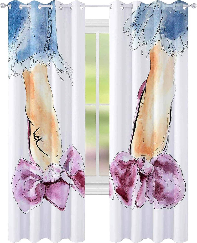 YUAZHOQI cortinas opacas rosa púrpura terciopelo zapatos con arco y tacones mujer piernas azul jeans acuarela moda Ilustración sk 52
