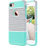 iPhone 7 Case,ULAK [Colorful Series] Slim Hybrid [Scratch Resistant] Hard Back Cover [Shock Absorbent] TPU Bumper Case for Apple iPhone 7 [4.7 inch]Minimal Mint Stripes