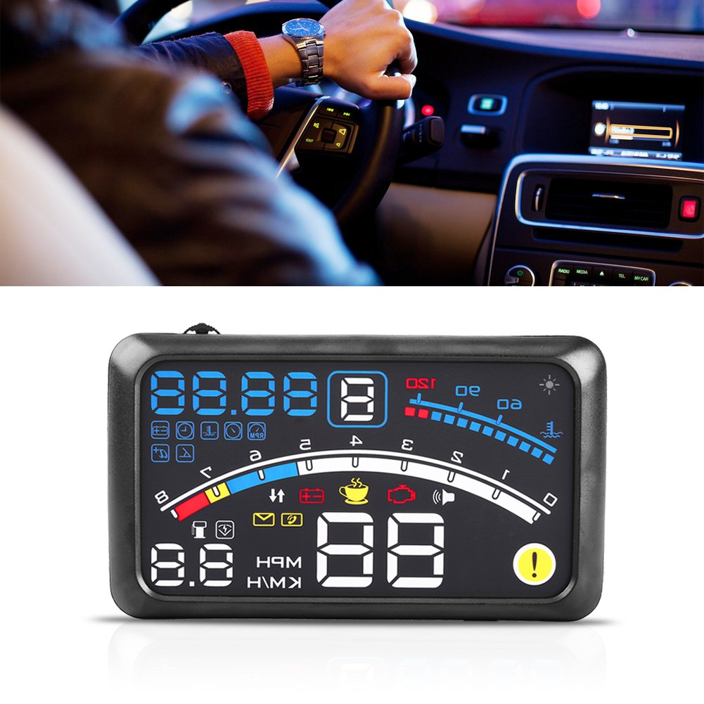 Head Up Display,Universal GPS HUD 5.5'' Display MPH/KM/h Over Speed Limit Warning Plug & Play Windshield Projector with Film for All Vehicle