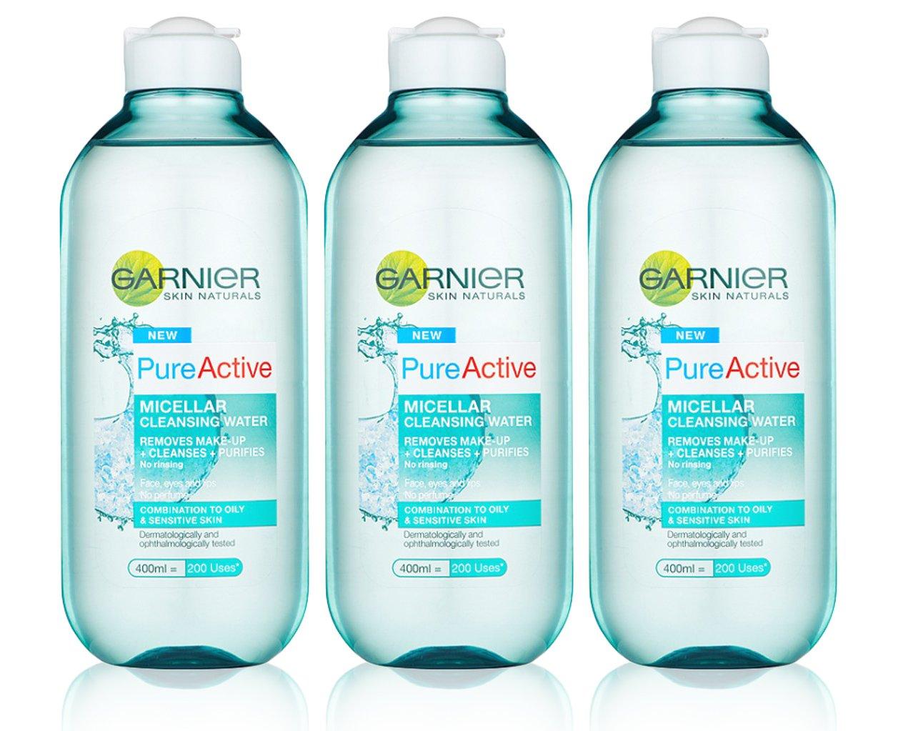 3 x Garnier Pure Activo agua micelar desmaquillante huellas de piel sensible 400 ml: Amazon.es: Belleza