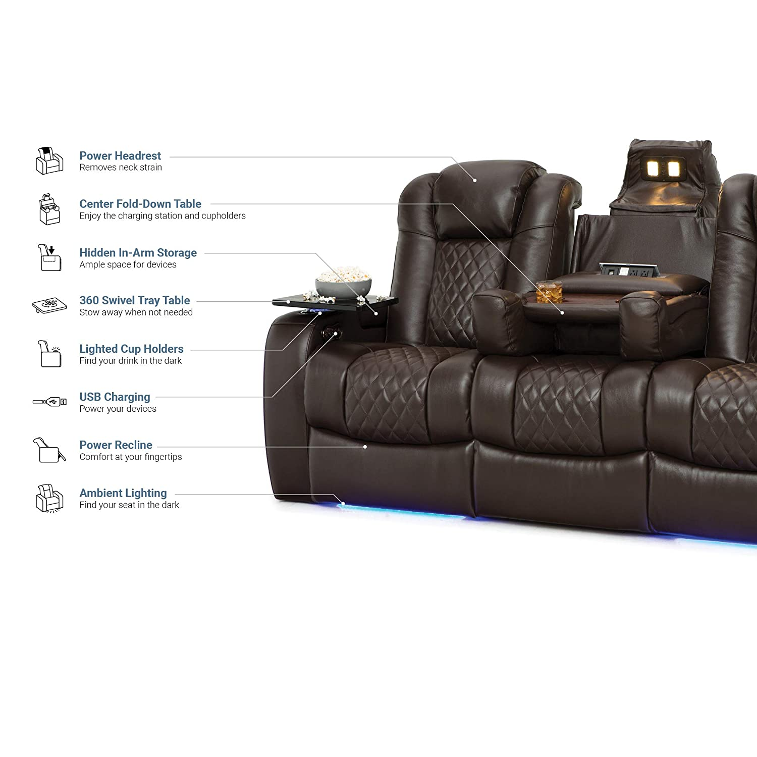 Amazon Com Seatcraft Anthem Home Theater Seating Leather Multimedia