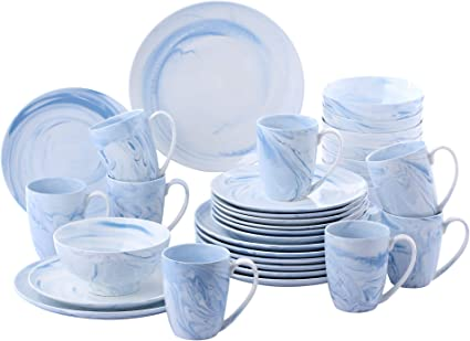 vancasso Clara Juego de Vajillas 32 Piezas,Vajilla de Porcelana, Platos Azules, Taza de Café, Platos, Cuencos de Cereales para 8 Personas Dibujo ...