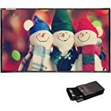 Excelvan 120 Inch 16:9 Collapsible PVC HD Portable Projector Screen with Hanging Hole Grommets for Home and Outdoor Front Projection Home and Outdoor Movie